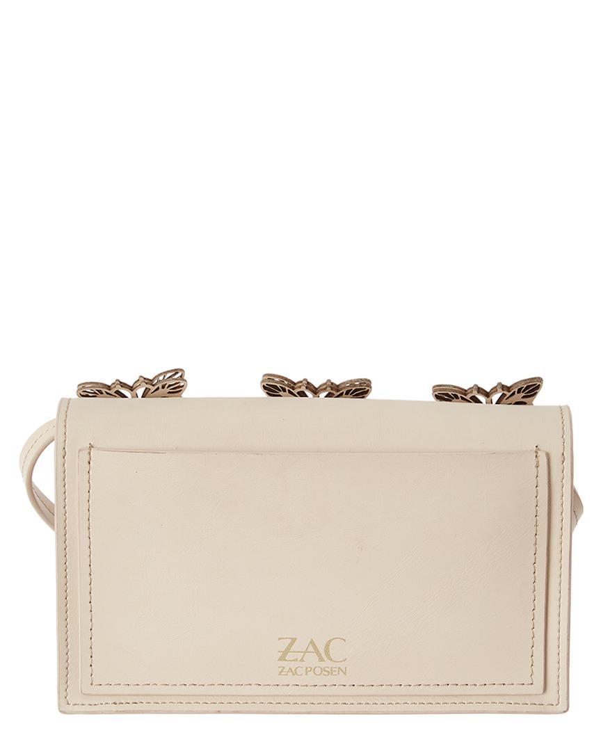 Zac Zac Posen Leather Earthette Crossbody Butterflies-sand Dollar in Natural