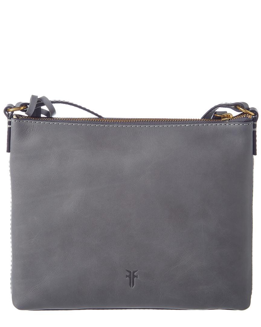 Frye Carson Logo Perforated Crossbody in Grey (Grey)