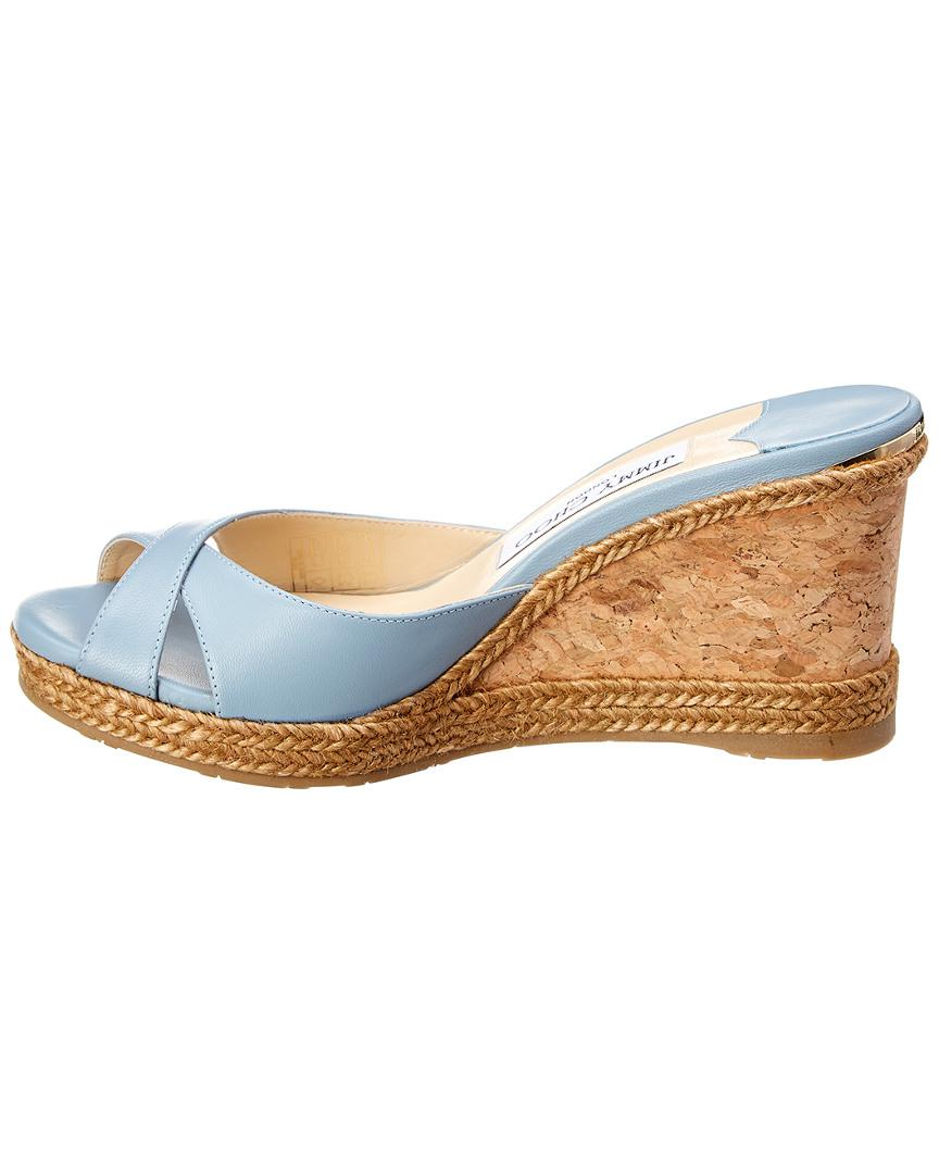 71d7dfee2693 Lyst - Jimmy Choo Almer 80 Leather Wedge Sandal in Blue - Save  37.05263157894737%