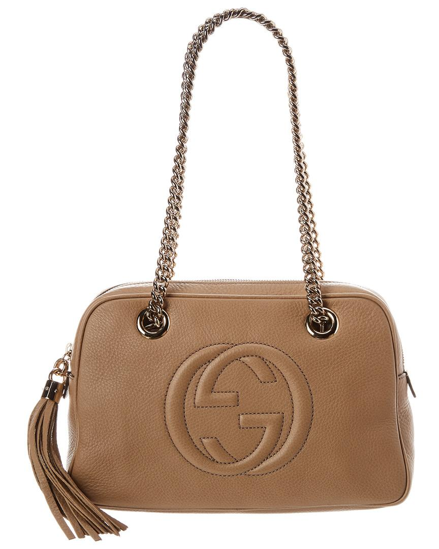 6acd1c22669d2 Lyst - Gucci Beige Leather Soho Chain Shoulder Bag in Natural