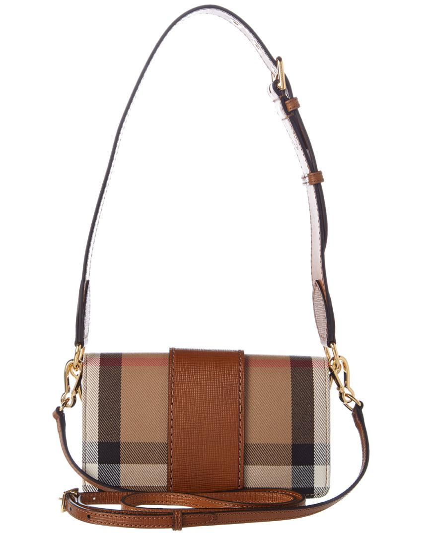 3758519e7403 Lyst - Burberry Bridle Small House Check   Leather Buckle Crossbody ...
