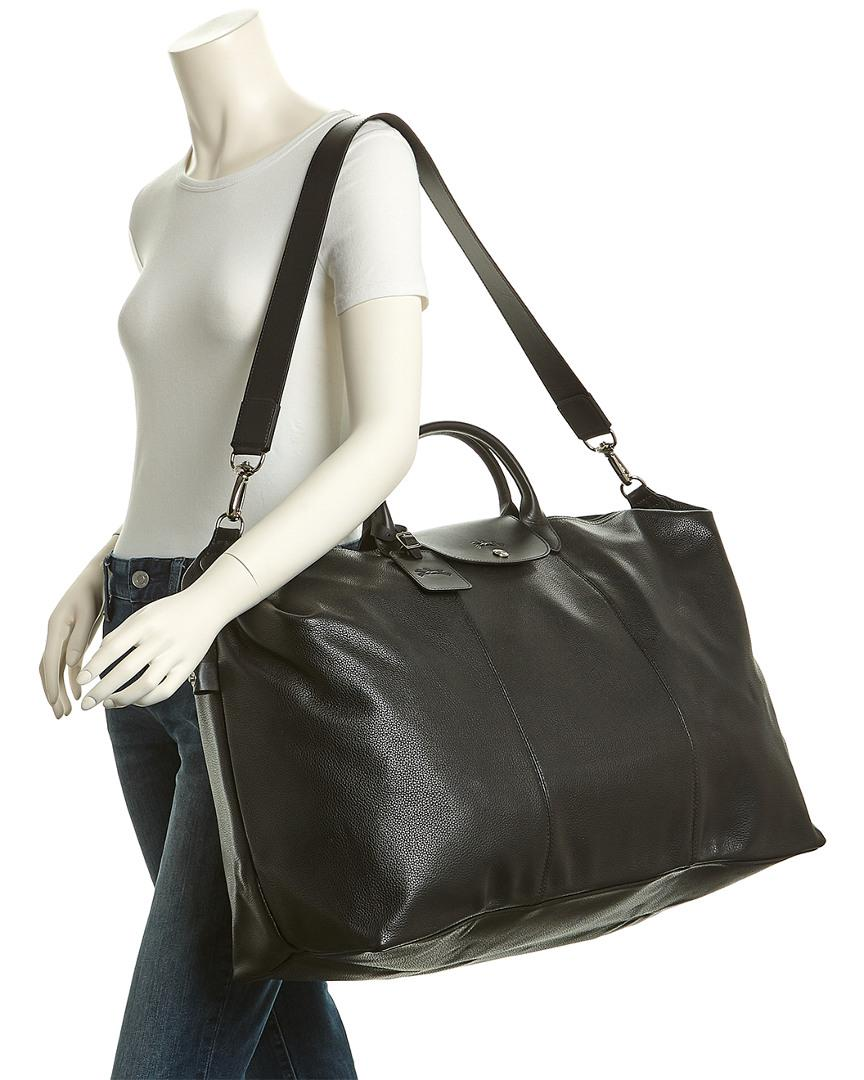 cc2438a45a65 Longchamp Le Foulonne Xl Leather Travel Bag in Black - Lyst