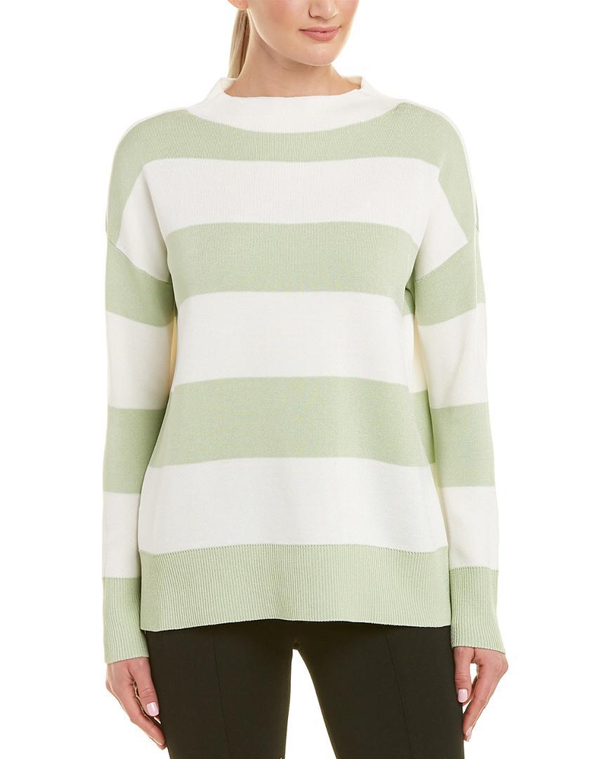 248bb80b4edb1 Lyst - Lafayette 148 New York Wide Stripe Sweater in Green
