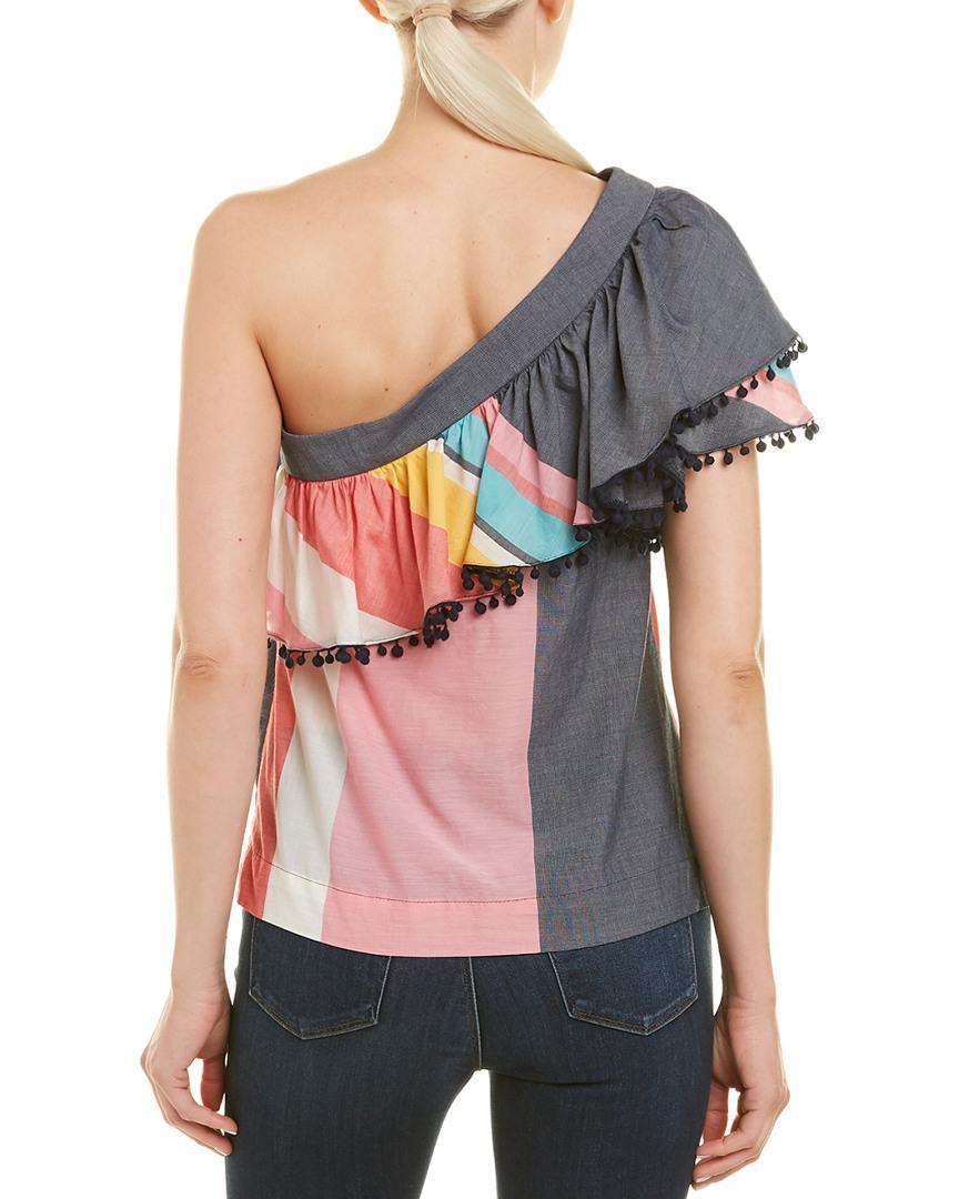 92f5b75441bcd Lyst - Trina Turk Ruffle One-shoulder Top