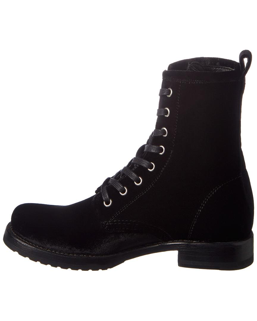 Frye Veronica Combat Suede Boot in Black