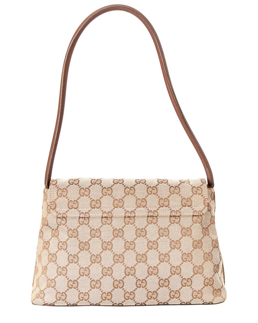 f828f3f7ea9c Gucci Brown Leather Gg Monogram Canvas Pochette Flap Bag in Brown - Lyst