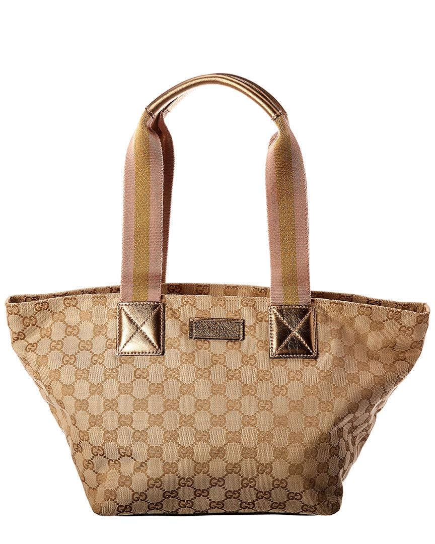 d553ced68c4 Gucci Gold GG Canvas   Leather Tote - Lyst