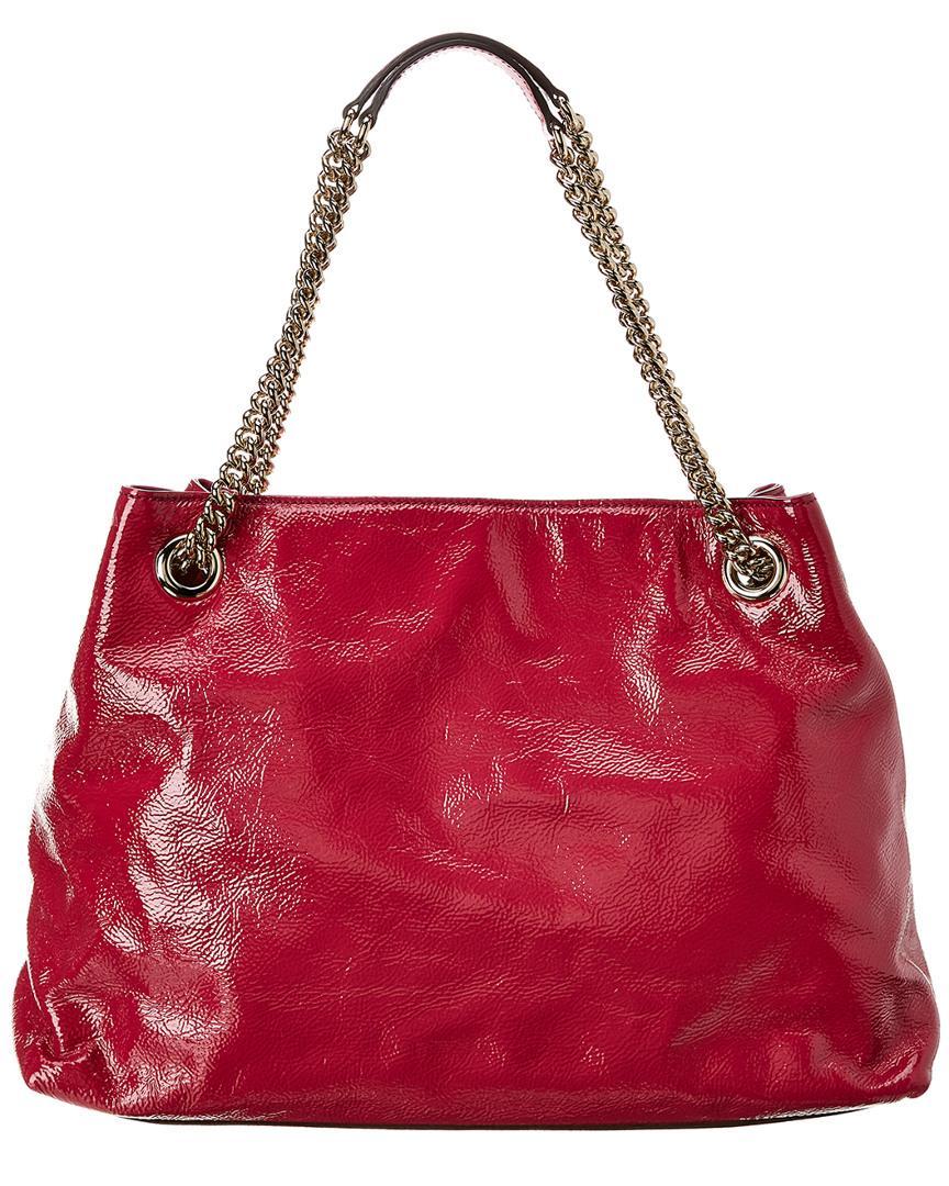 d9cf911fbc7dd Lyst - Gucci Pink Patent Leather Chain Soho Bag