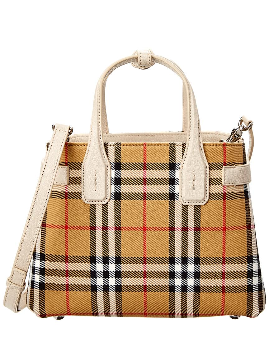 0e0ce851d065 Lyst - Burberry Small Banner Vintage Check   Leather Tote in White