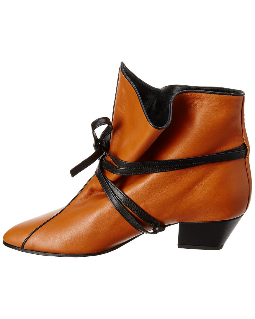 Celine Leather Bootie in Brown