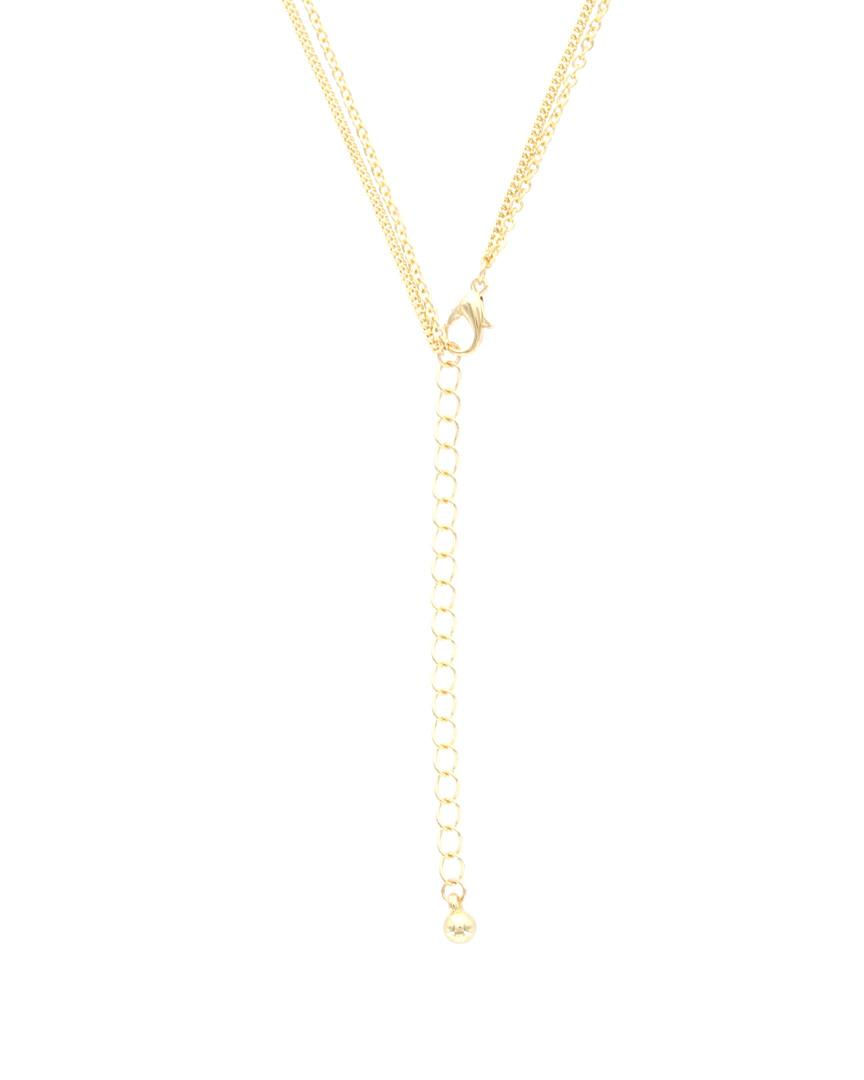 Sparkling Sage 14k Plated Crystal & Resin Layered Necklace in Metallic