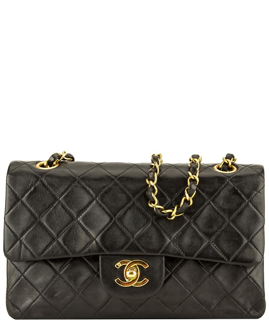 c01dc049a063 Chanel Black Quilted Lambskin Leather Small Double Flap Bag in Black ...