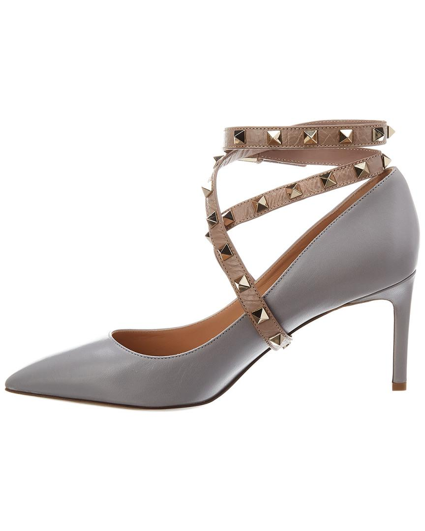 02ff03d0ba3c Lyst - Valentino Studwrap Leather Pump in Gray