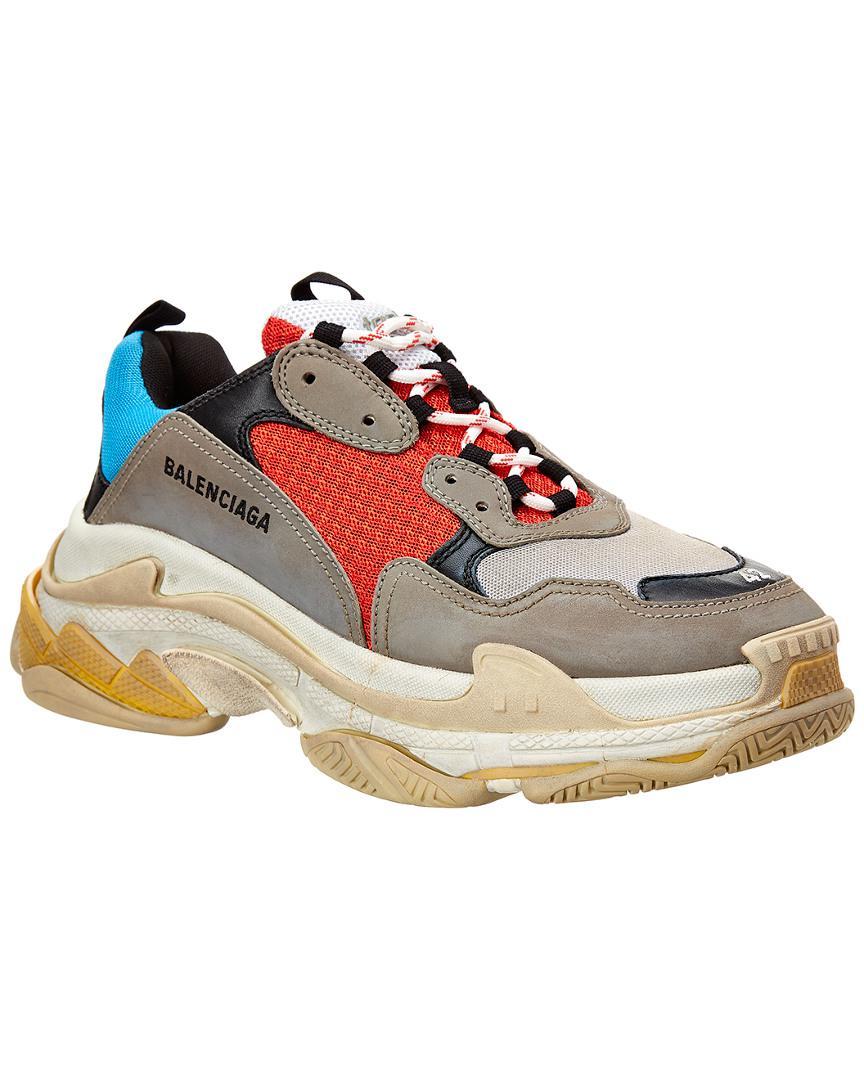 e89bc22cb065 Balenciaga - Gray Leather   Mesh Sneaker for Men - Lyst. View fullscreen