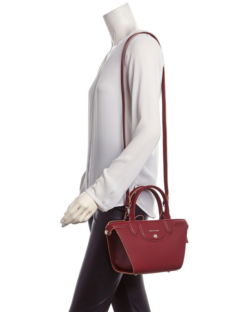 Le Pliage Heritage Small Leather Top Handle Tote