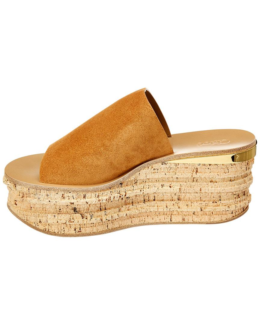 154937650bfd Lyst - Chloé Camille Wedge Mules in Brown - Save 45%