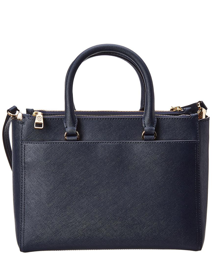 dd95684997f Tory Burch Robinson Small Double Zip Leather Tote in Blue - Lyst