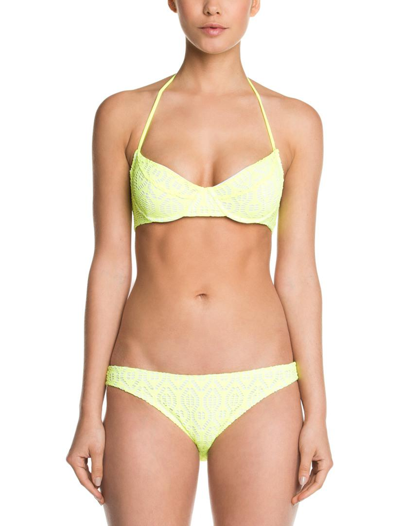 b8010456f77fc Lyst - Shoshanna Neon Yellow Crochet Brief Bottom in Yellow