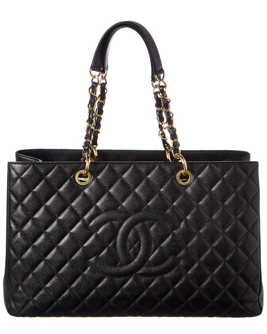 6f5cf4cc7c725e Lyst - Chanel Black Quilted Caviar Leather Grand Shopping Tote in ...
