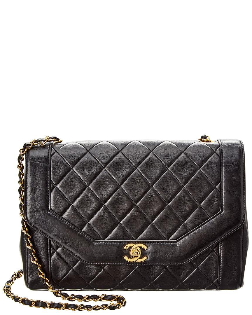 5177ddce5a97 Chanel Black Quilted Lambskin Leather Classic Flap Bag in Black - Lyst