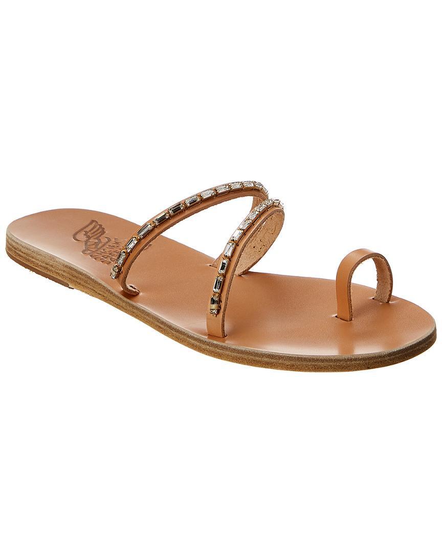 2ffb83d1b Ancient Greek Sandals. Women s Brown Sandals Apli Katia Diamonds Leather  Sandal