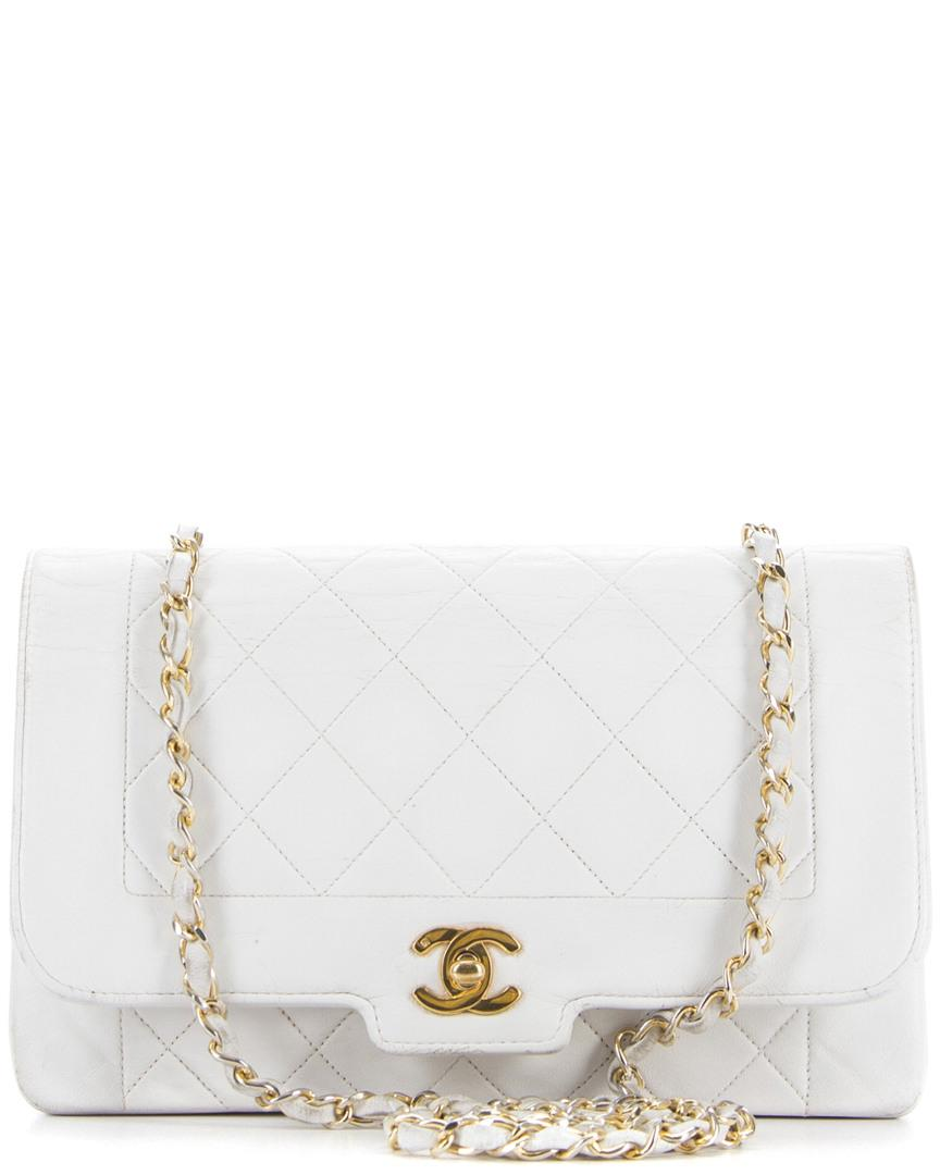 6be92b40216d Lyst - Chanel White Quilted Lambskin Small Single Flap Bag in White