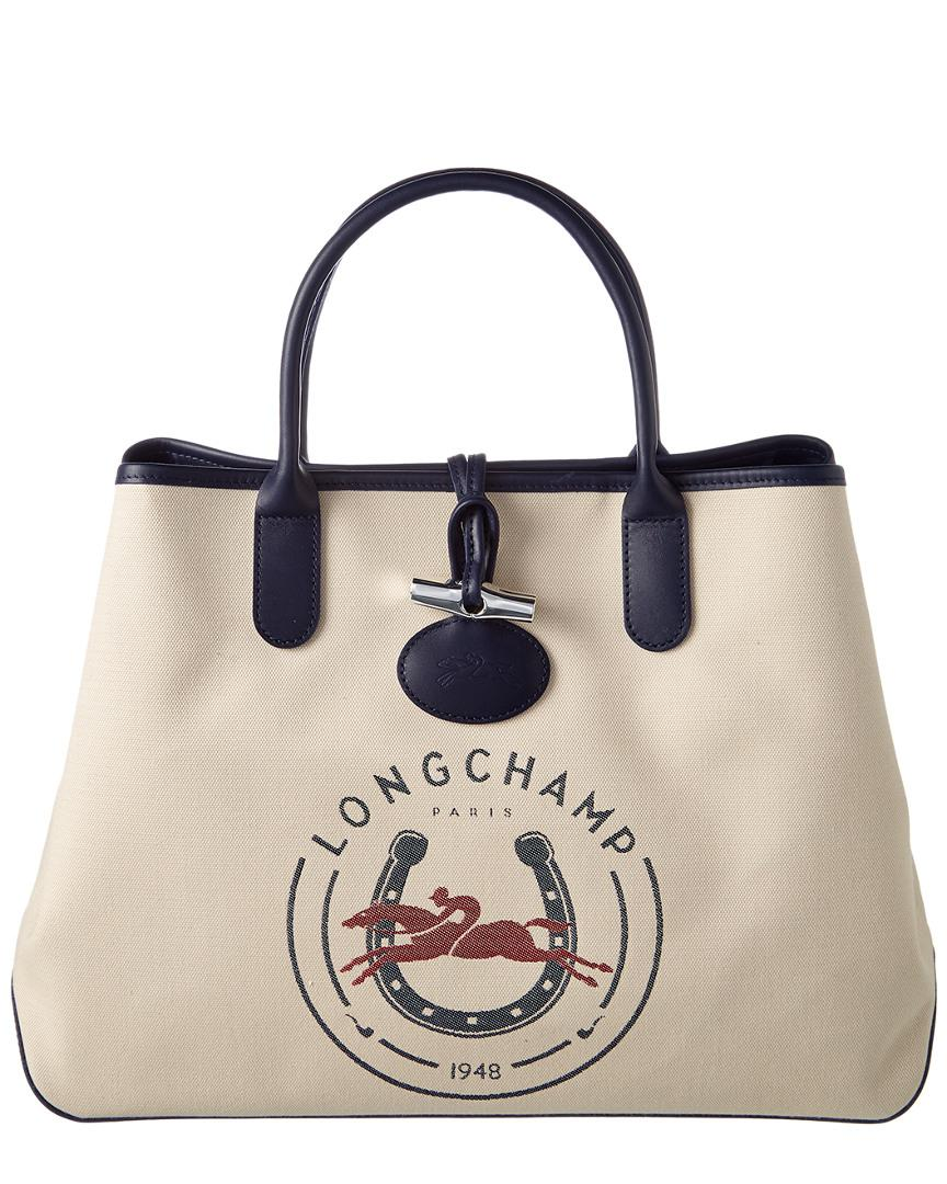 7fe8eb192ff Longchamp Roseau 1948 Canvas Large Tote in Natural - Lyst