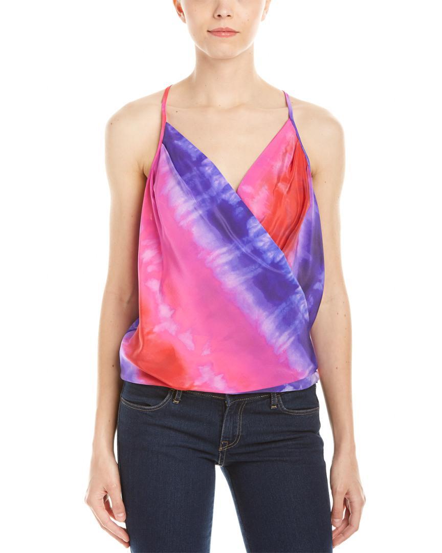 ac3f0ce7b0d9c Lyst - Amanda Uprichard Cross Over Silk Camisole in Purple