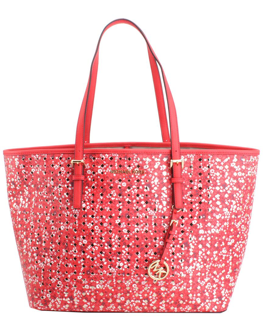 Michael Kors - Red Jet Set Travel Large Leather Carioto - Lyst. View  fullscreen 9cc9d3f867660