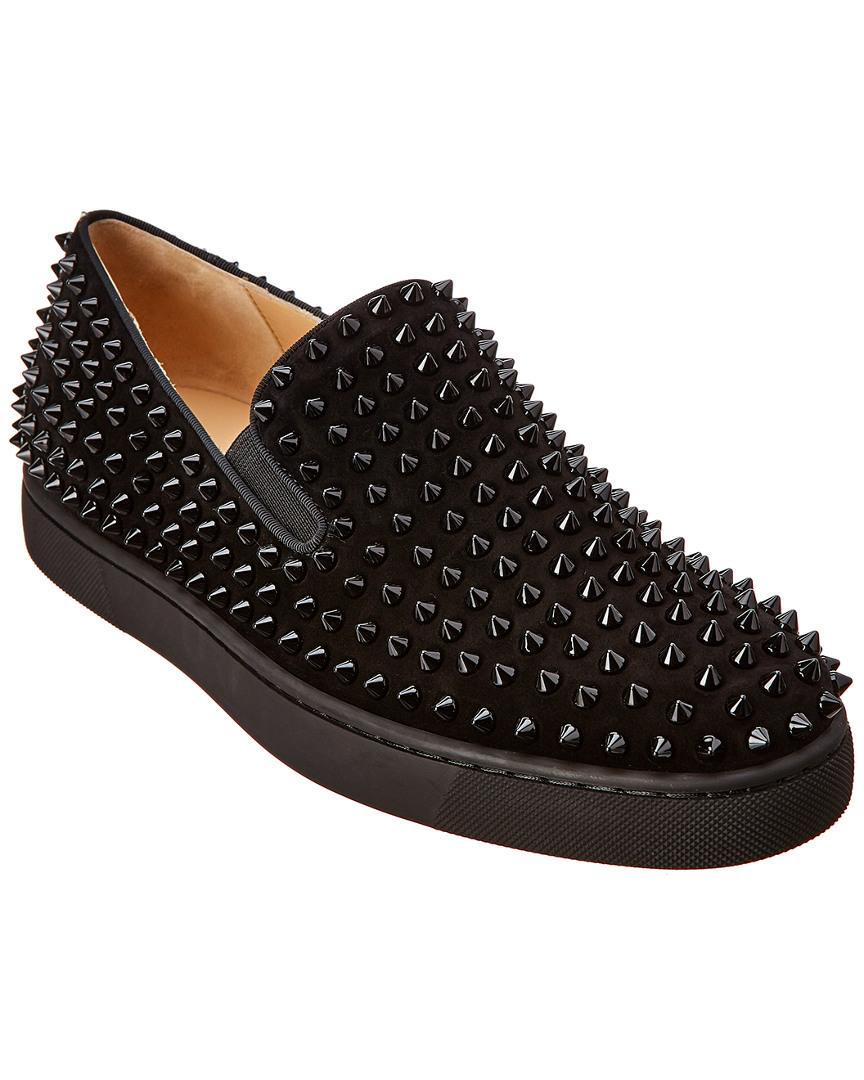 06a2bc09b04 Lyst - Christian Louboutin Roller Boat Suede Sneaker in Black for ...