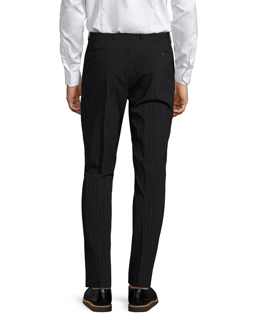 John Varvatos Wool Collection Striped Slim Fit Straight Leg Trouser in 1 (Black) for Men