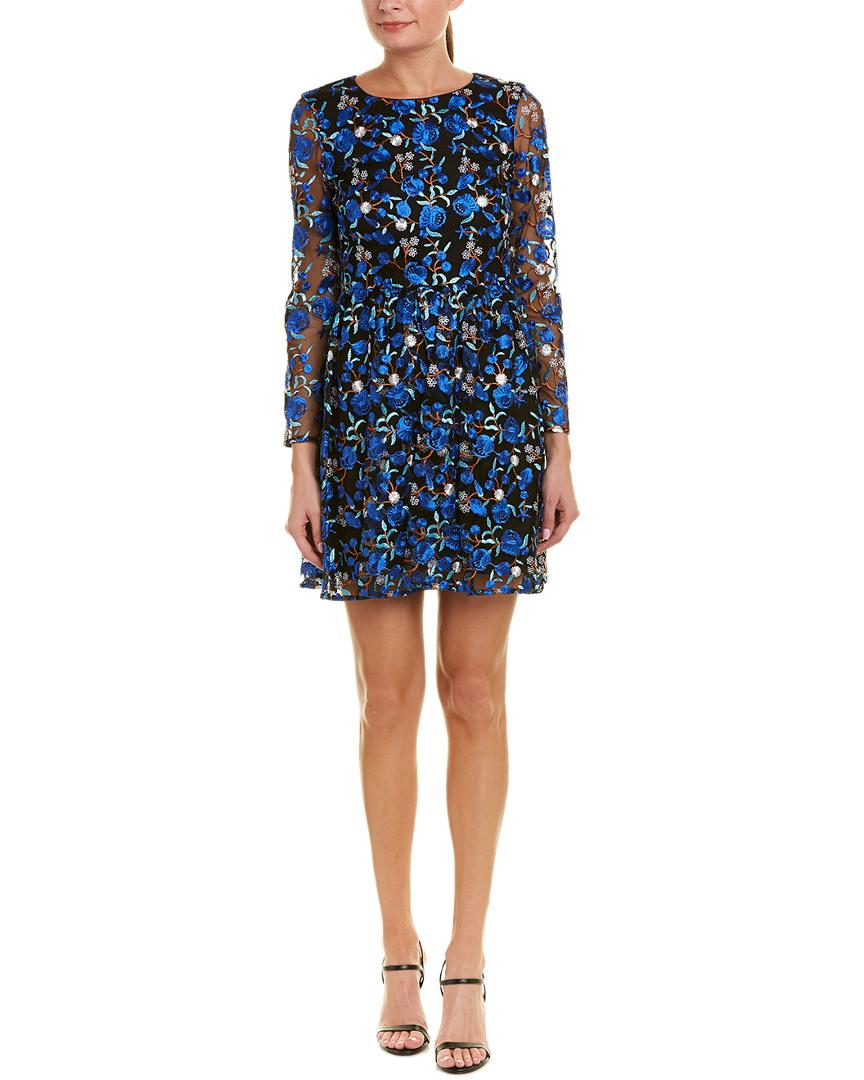 d1edfe69232 Belle By Badgley Mischka. Women s Blue Sedona Embroidered Floral Lace  A-line Dress