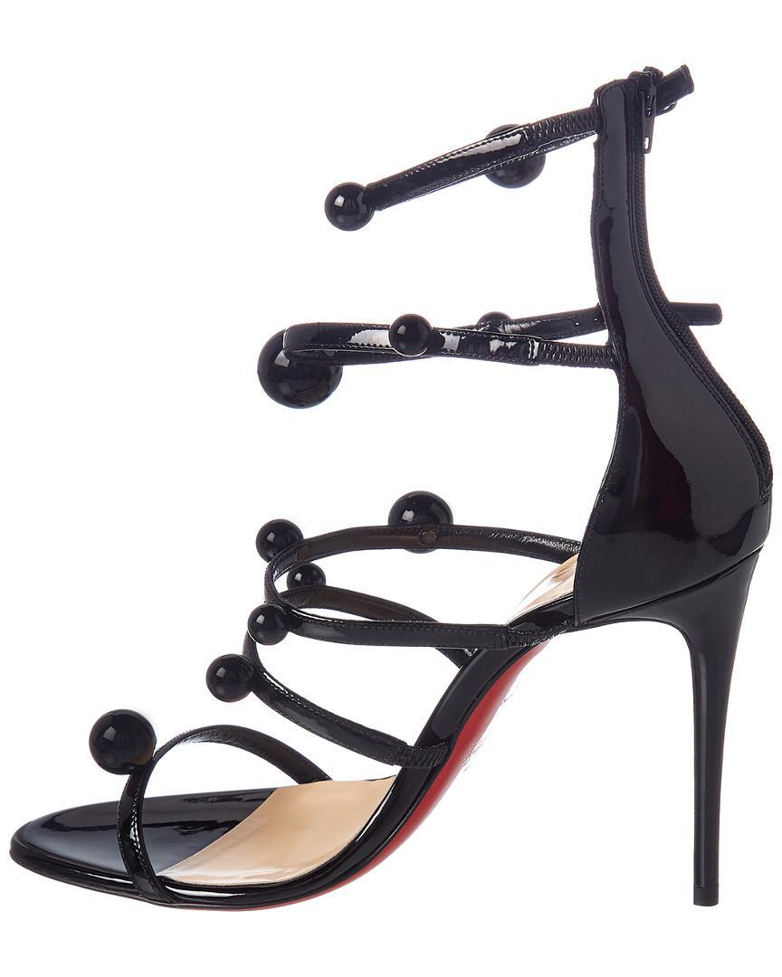 newest 33867 44d74 Christian Louboutin Black Atonana 100 Patent Sandal
