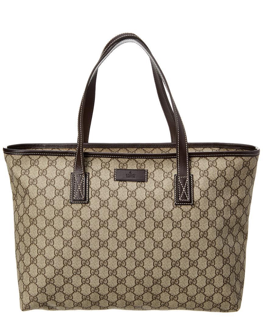 06f009fbda28 Gucci Brown GG Supreme Canvas & Leather Tote in Brown - Lyst