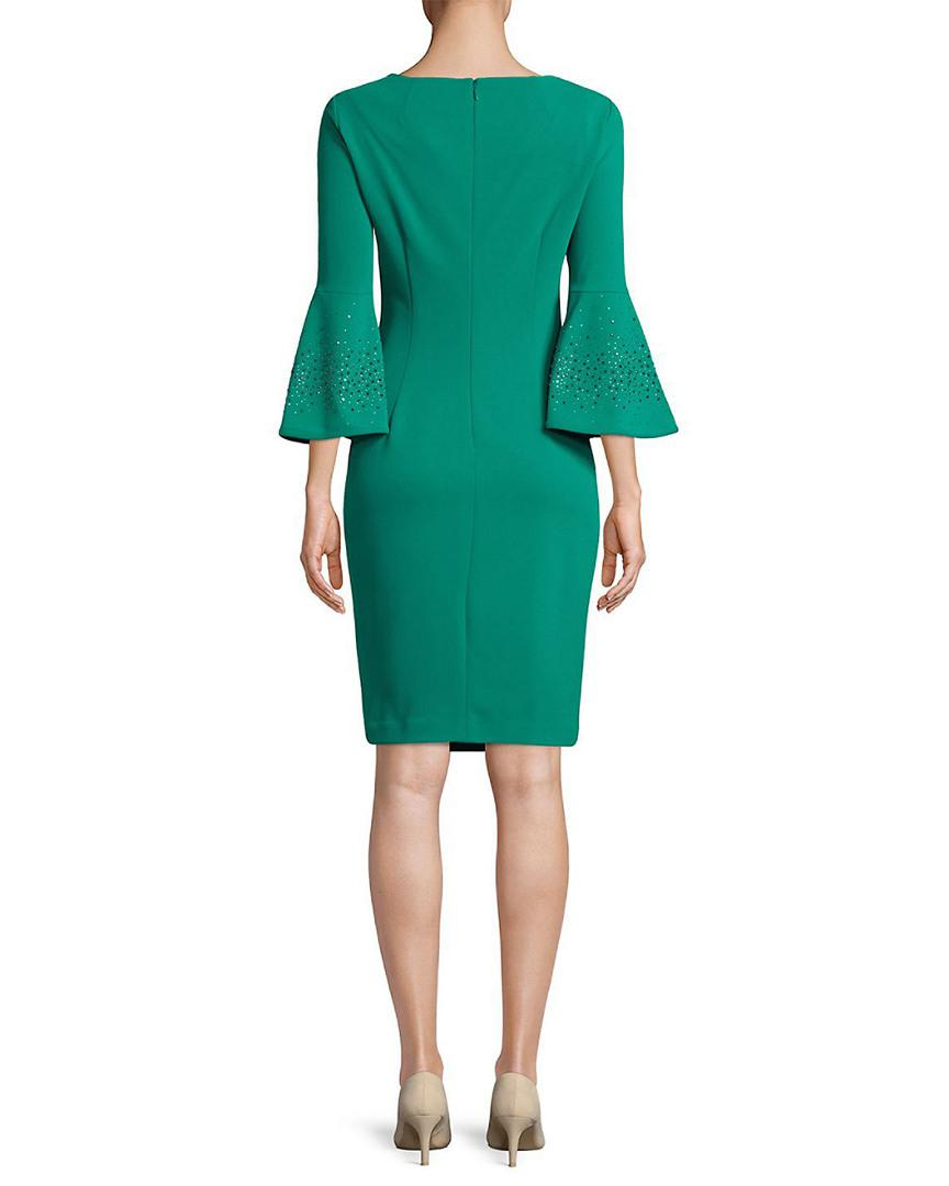 93cbc20abe1e Calvin Klein Bell Sleeve Sheath Dress in Green - Lyst