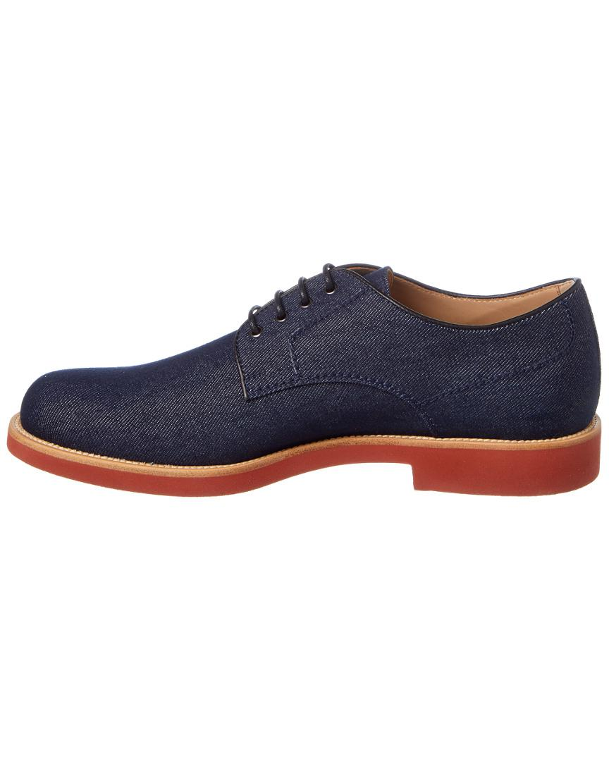 Tod's Lace Up Denim Derby Shoe in Blue for Men