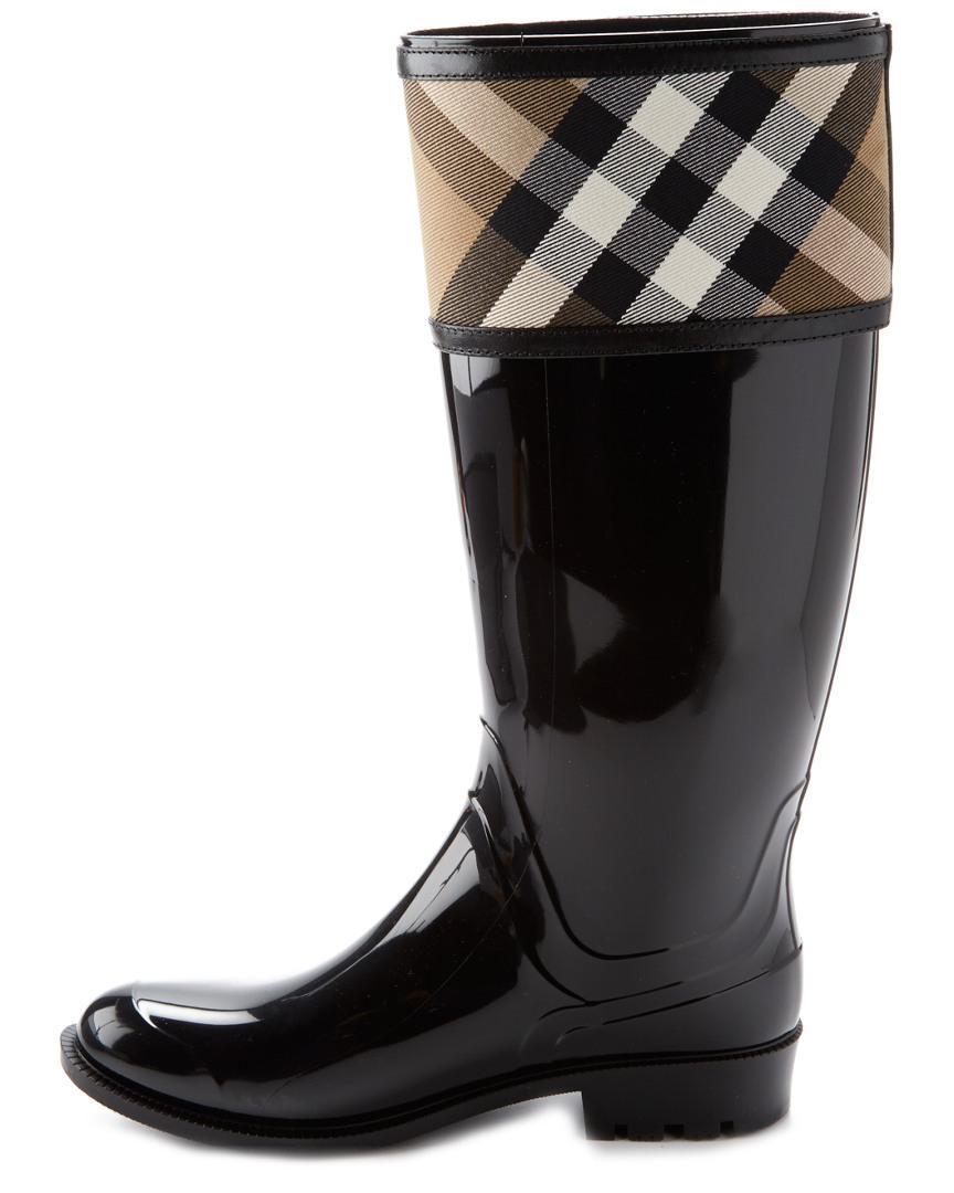 Burberry Rubber Crosshill House Check Rain Boot in Black