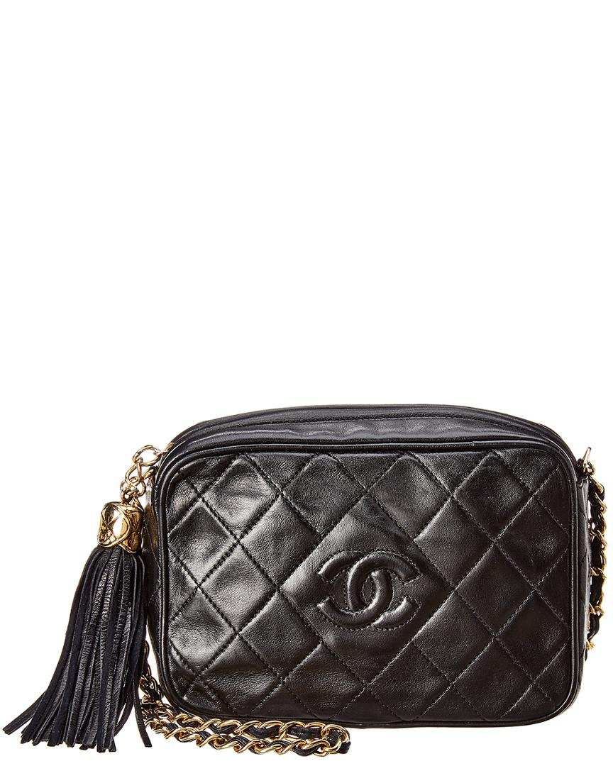 1cb90f012de Lyst - Chanel Black Quilted Lambskin Leather Small Camera Bag in Black