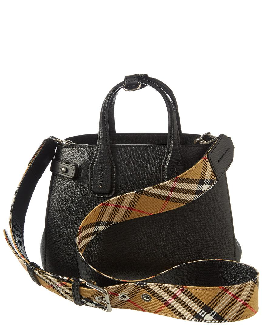 26d5924013a3 Lyst - Burberry Baby Banner Leather   Vintage Check Tote in Black