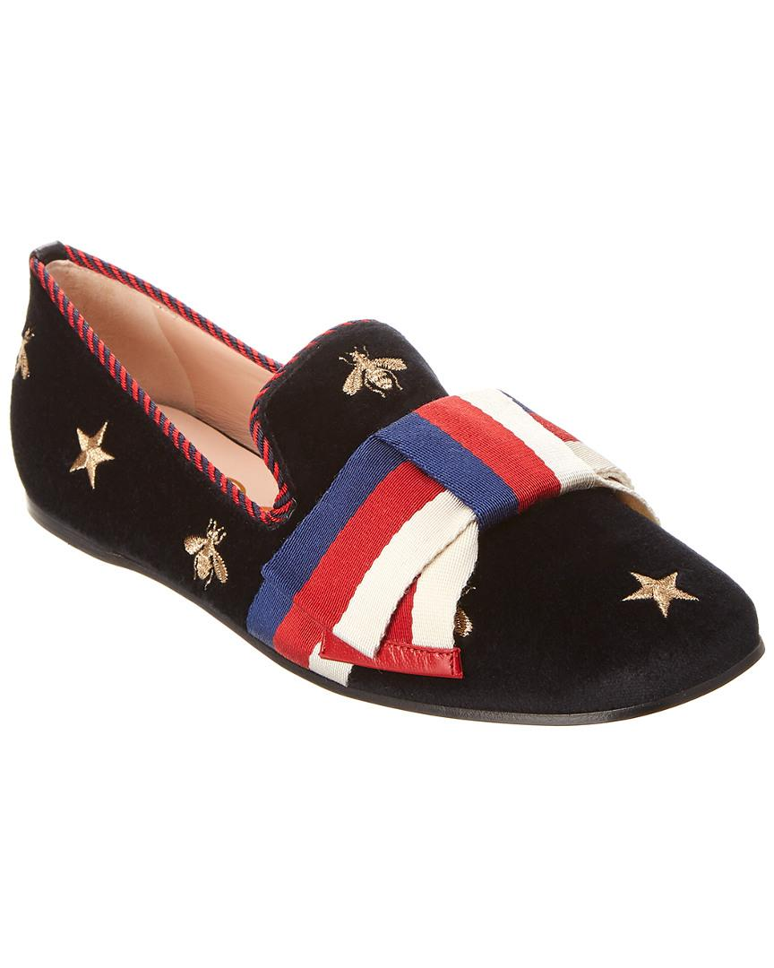 20688eac8 Gucci Embroidered Velvet Sylvie Bow Ballet Flat in Black - Lyst