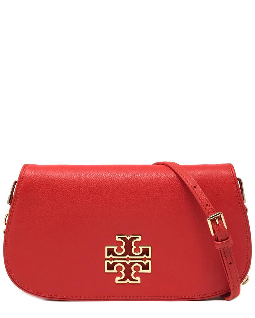 61c6eff22ba0 Lyst - Tory Burch Britten Leather Clutch in Red