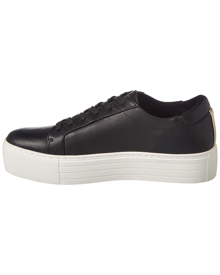Kenneth Cole Abbey 2 Embroidered Leather Platform Sneaker in Black