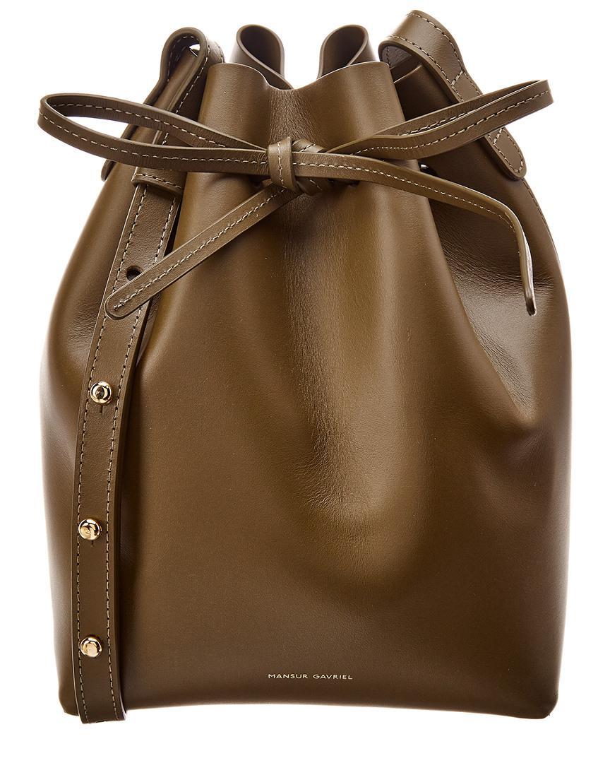 97684c10f52e Mansur Gavriel - Green Mini Leather Bucket Bag - Lyst. View fullscreen
