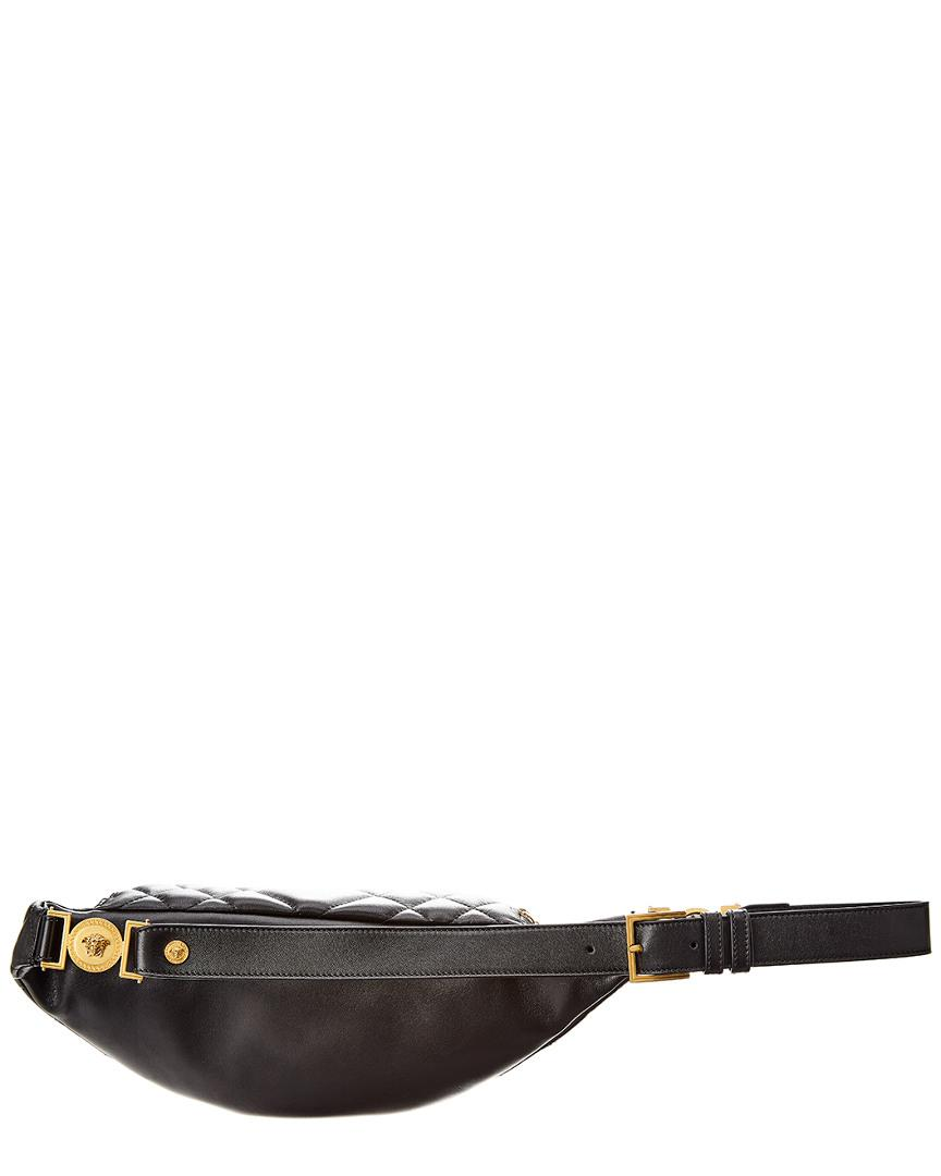 78caecfdf4 Women's Black Medusa Quilted Leather Belt Bag