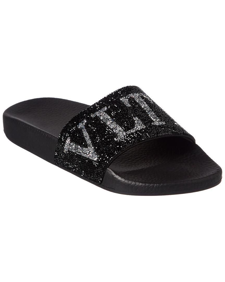 a09e6cc4b Valentino Swarovski Crystal Slide Sandal in Black - Save 10% - Lyst
