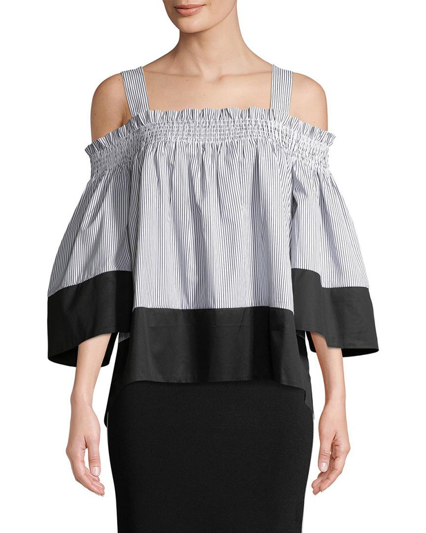 d4a62a5abd56e Lyst - Kendall + Kylie Kendall + Kylie Smocked Cold-shoulder Top in ...