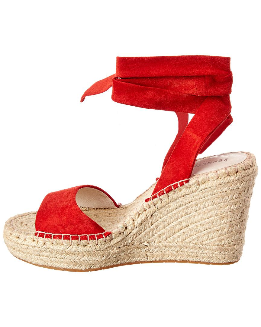 563506f8155 Kenneth Cole Odile Ankle Tie Espadrille Wedge Sandals in Red - Save  27.35849056603773% - Lyst