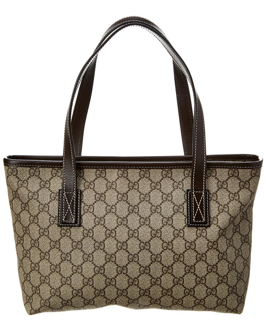 bf8faf1a9f2 Lyst - Gucci Brown GG Supreme Canvas   Leather Tote in Brown