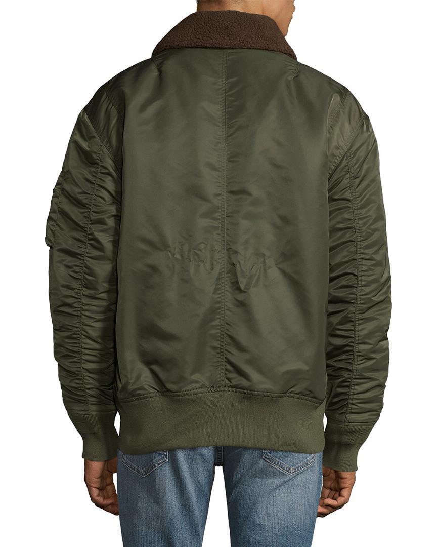 Guy Laroche Oversized Spread Collar Bomber Jacket in Military Green (Green) for Men