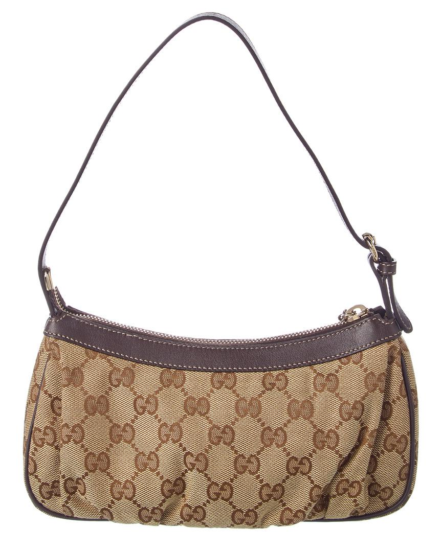 7b7ade002e00 Lyst - Gucci Brown Gg Supreme Canvas   Leather Pochette in Brown